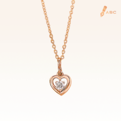 14K Pink Gold Mini Heart Diamond Pendant