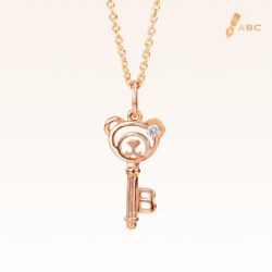 14K Pink Gold Beawelry Key Diamond Pendant