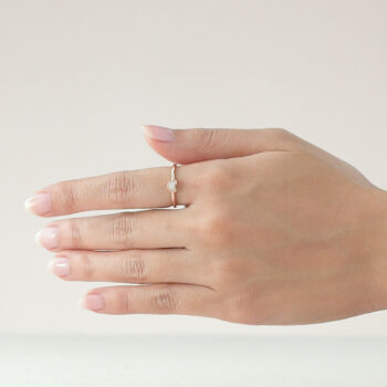14K Pink Gold Mini Beawelry Bear Ring with Diamond