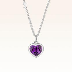 Silver Natural Amethyst Heart Pendant