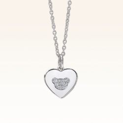 Silver Beawelry Love Bear Pendant with CZ