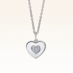 Silver Double Hearts Pendant with CZ