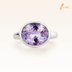 Silver Big Oval Amethyst Cocktail Ring