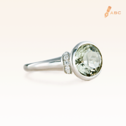 Silver Big Oval Green Amethyst Cocktail Ring