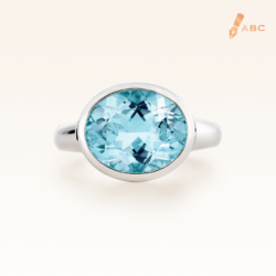 Silver Big Oval Blue Topaz Cocktail Ring