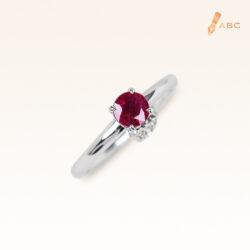 Silver Classic Beawelry Genuine Round Ruby & White Topaz Ring