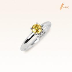 Silver Classic Beawelry Round Yellow Sapphire & White Topaz Ring