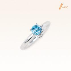 Silver Classic Beawelry Round Blue Topaz & White Topaz Ring