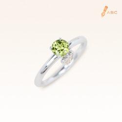 Silver Classic Beawelry Round Peridot & White Topaz Ring