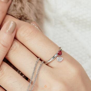Silver Classic Beawelry Heart Ruby & White Topaz Ring