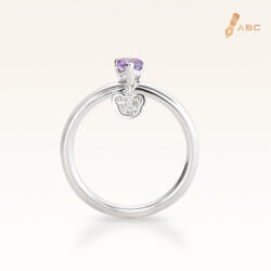 Silver Classic Beawelry Heart Amethyst & White Topaz Ring