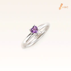Silver Classic Beawelry Heart Amethyst & White Topaz Ring