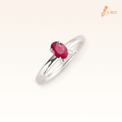 Silver Classic Beawelry Genuine Oval Ruby & White Topaz Ring