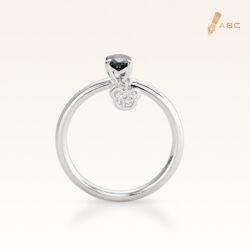 Silver Classic Beawelry Genuine Oval Sapphire & White Topaz Ring