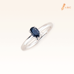Silver Classic Beawelry Genuine Oval Sapphire & White Topaz Ring