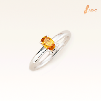 Silver Classic Beawelry Genuine Oval Yellow Sapphire & White Topaz Ring