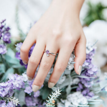 Silver Classic Beawelry Oval Amethyst & White Topaz Ring