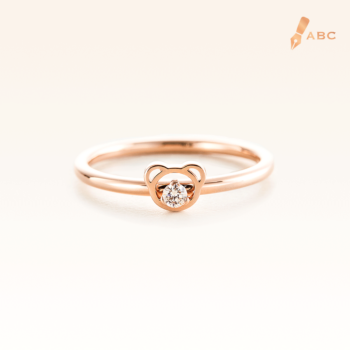 14K Pink Gold Beawelry Bear Diamond Ring