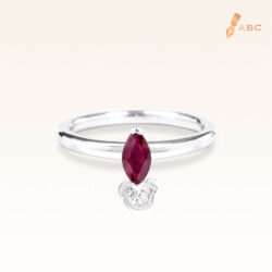 Silver Classic Beawelry Genuine Marquise Ruby & White Topaz Ring