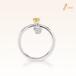 Silver Classic Beawelry Genuine Emerald Cut Yellow Sapphire & White Topaz Ring