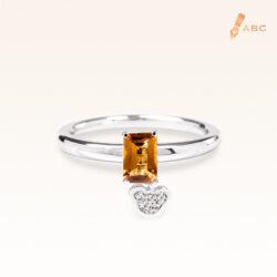 Silver Classic Beawelry Emerald Cut Golden Citrine & White Topaz Ring