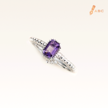 Silver Beawelry Ring with Emerald Cut Amethyst
