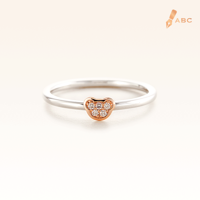 Silver & 14K Pink Gold Mini Beawelry Bear Ring with  Diamond