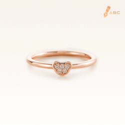 14K Pink Gold Mini Beawelry Bear Ring with Diamond