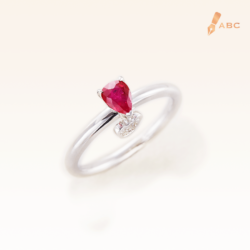 Silver Classic Beawelry Genuine Pear Shape Ruby & White Topaz Ring