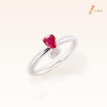Silver Classic Beawelry Genuine Pear Shape Ruby & White Topaz Ring