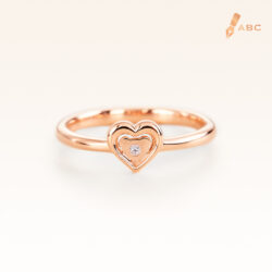 14K Pink Gold Beawelry Heart Diamond Ring