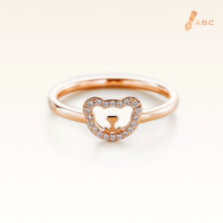 14K Pink Gold Beawelry Bear Ring with Diamond
