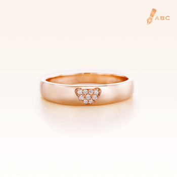 14K Pink Gold Band Ring with Bear in cluster diamond