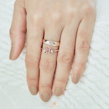 14K Pink Gold Band Ring with Heart in cluster diamond
