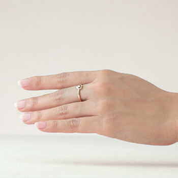 14K Pink Gold Hear Ring with Diamond