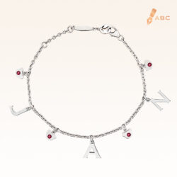 Silver January Birthstone Garnet Color CZ Charm Bracelet