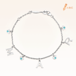 Silver March Birthstone Aquamarine Color CZ Charm Bracelet