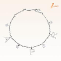 Silver April Birthstone White CZ Charm Bracelet