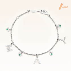 Silver May Birthstone Emerald Color CZ Charm Bracelet