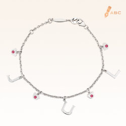 Silver July Birthstone Ruby Color CZ Charm Bracelet