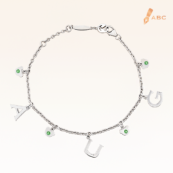 Silver August Birthstone Peridot Color CZ Charm Bracelet
