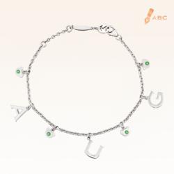 Silver August Birthstone Peridot Color CZ Charm Bracelet