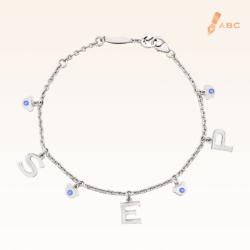 Silver September Birthstone Sapphire Color CZ Charm Bracelet
