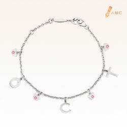 Silver October Birthstone Pink Tourmaline Color CZ Charm Bracelet
