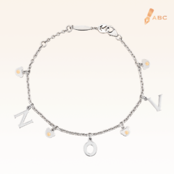 Silver November Birthstone Citrine Color CZ Charm Bracelet