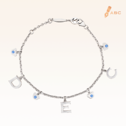 Silver December Birthstone Blue Topaz Color CZ Charm Bracelet