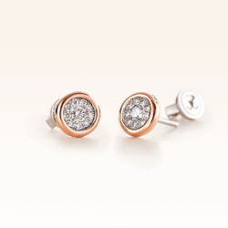 Silver & 14K Gold Cluster Diamond 0.35 ct. Stud Earrings