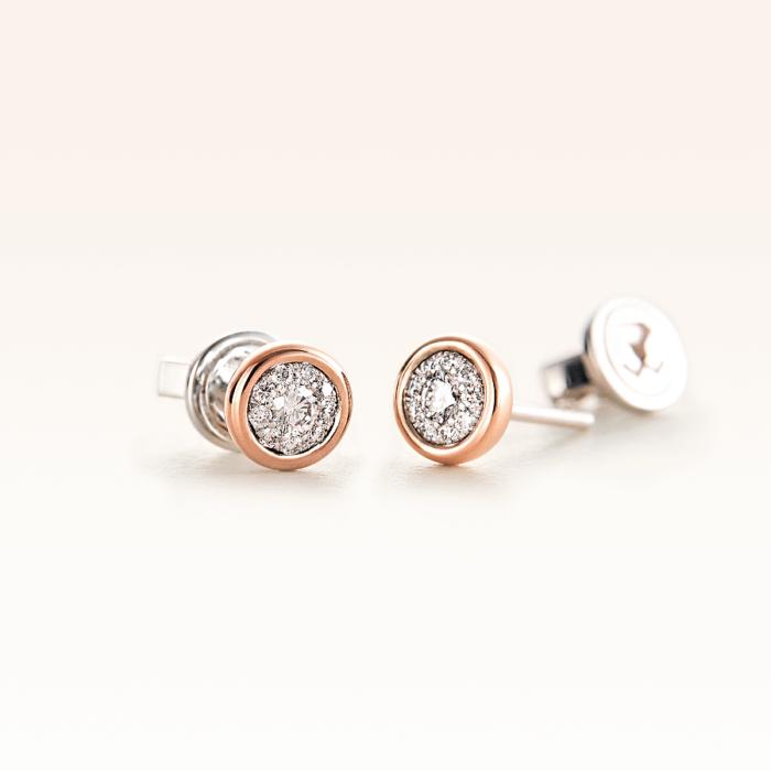 Silver & 14K Gold Cluster Diamond 0.20 ct. Stud Earrings