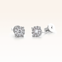 18K White Gold Cluster Diamond 0.35 ct. Stud Earrings