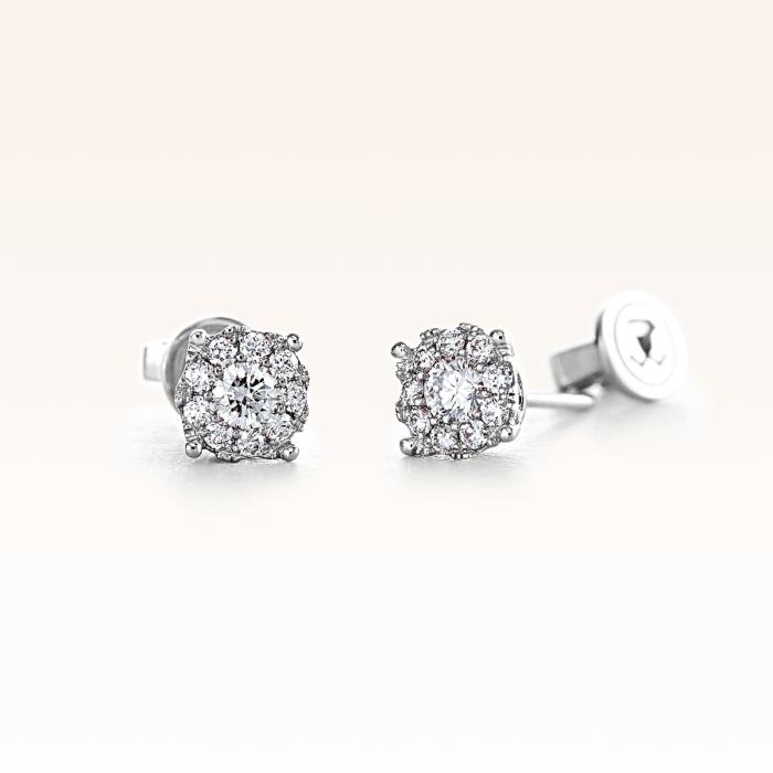 18K White Gold Cluster Diamond 0.35 ct. Stud Earrings